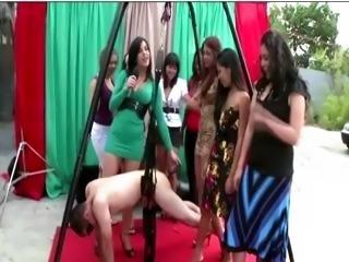 Cfnm femdom sluts victim harness humiliation
