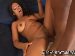 Ebony porn icon Janae Foxx getting her pussy stretch by a big black dick.