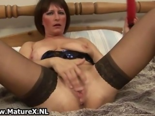 Dirty old  in sexy lingerie fucking