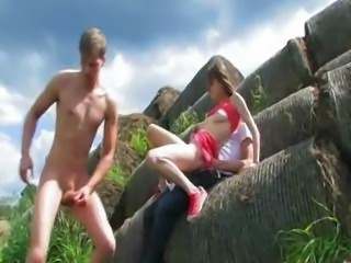 cute double fuck outside with teen