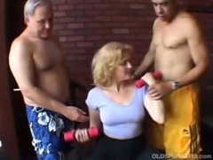 Sexy old spunker gets spit roasted free