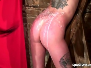 Sexy tattooed slut gets tied and hot ass