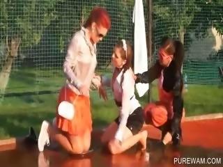 Slutty lesbians getting wet outdoor