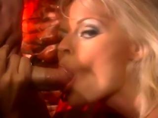 Stunning blond Katja in action