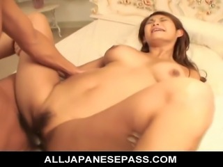 The guys at the office take Rui Horie out for a day on the town. They stop in at a hotel and treat her to room service and a lot more. They have her on her back her hairy pussy spread wide so they can tease and finger it making her slippery wet and ready for those hard dicks to slip inside and fuck her until she is cumming like mad.