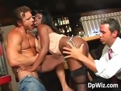 Mega boobed ebony gets double fucked part1