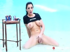 Busty big tit pornstar, Melena Mason, strips and masturbates with her cock...
