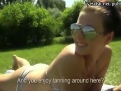 Round ass amateur busty chick doggy fucked on boat for cash