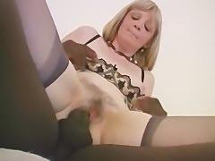 Blonde French Grandma Interracial Anal