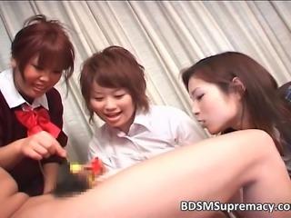 Group of sweet Asian sluts punishing one guy