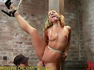 Hogtied Blondie Wants to Cum