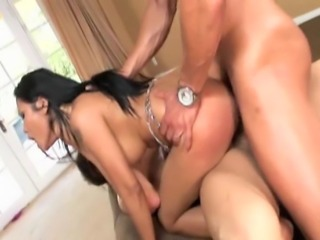 90 pound Asian from Thailand with big butt does anal and DP with 2 fit latin...