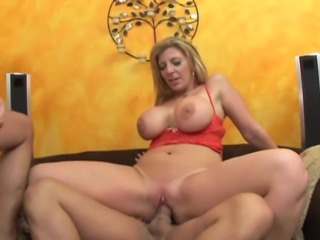 33 year old blonde milf with fake 34E tits and a 34 inch cottage cheese ass does DPP with 3 guys, and gets her face covered in cum.