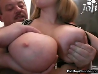One man is just not enough to satisfy this insatiable bigtitted cutie in sexy black boots so she hooks up with four mature perverts to get gangbanged like she always wanted. She goes skiing on multiple cocks and ends up getting her all fuckable holes polished and stretched with no mercy and taking messy cumshots right on her pretty face.