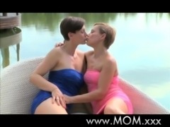 MOM Amazing lesbian MILFs eating pussy outdoors free