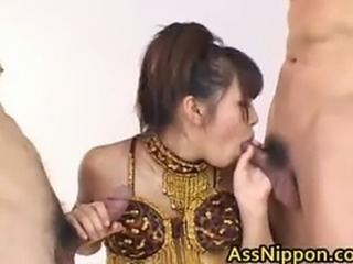 Asian Babe Sucks and Gets double Fucking part2