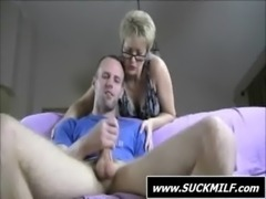 Short haired MILF in glasses gives blowjob free