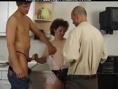 Granny Lady In Kitchen With Two Men mature mature porn granny old cumshots cumshot