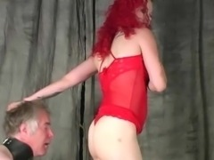 Forced pussy smelling and ass sniffing through Mistress's panties