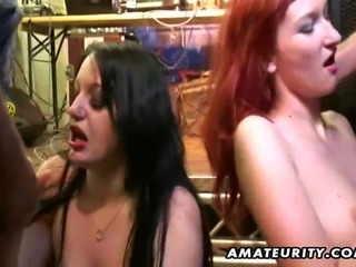 2 naughty amateur Milf homemade hardcore action with double blowjobs and...