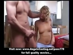 Amateur lovely blonde chick doing blowjob in the kitchen