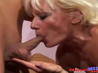 Elderly housewife cheating on her old husband with hung younger guy