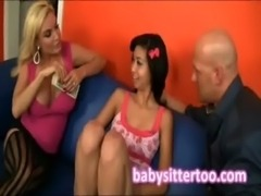 Horny married couple give the young nanny some extra cash to make 3some free
