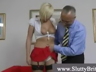 Naughty blonde in stockings and heels meets perverted grandpa
