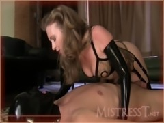 latex milf in boots and gloves teasing handjob free