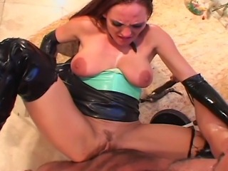 Hot redhead with long legs house wife in green top is having great sex in...