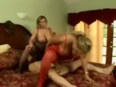 Horny MILF threesome free
