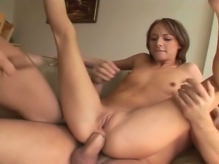 24 year old 90 pound brunette with thick 34 inch ass does anal and DP with an...
