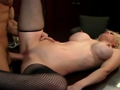 Horny secretary banged on the desk on all positions as her huge boobs bounce...