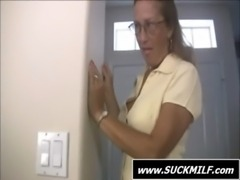 Mom in glasses gives blowjob on the sofa free