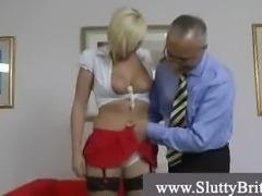 Naughty blonde in stockings and heels meets perverted grandpa