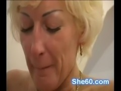 Horny busty granny blows and fu ... free