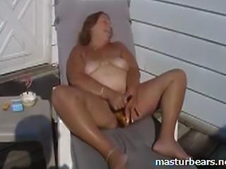 61 years granny. Still full of sexual energy. Last summer. Outdoor on terrace...