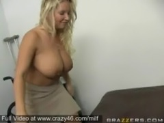 Busty Milf gets a big cock at her office free