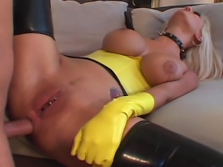 Big boobs horny blond house wife in yellow leather suite experiencing hardcore sex with her fat cock boyfriend and moaning with every orgasm running though her banging body.