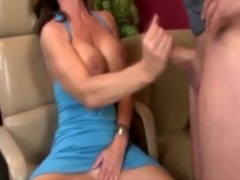 Sweet sexy MILF is giving a handjob free