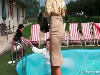 Hottie in bride gown gets wet in pool
