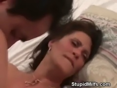Brunette MILF Rides And Sucks Two Guys In Threesome free
