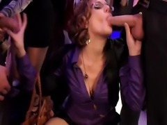 Hot euro pornstar sucking on two cocks at this sexy party
