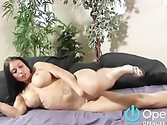 Sexy Brunette with Huge Tits Gives BJ