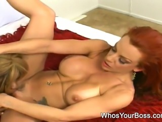 Big breasted girl getting bent over and fucked by a hot lesbian domina