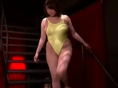 Busty asian Rin Aoki in yellow swimming suite tit massage