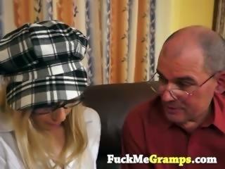 Horny grandpa seduces blonde cutie