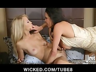 Cheating husband walks in on two bi girls  joins in