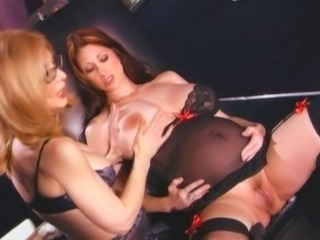 Milf gets interracial anal in officechair