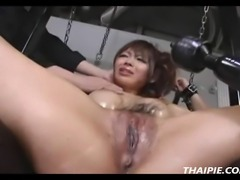 Hairy wet and messy Asian pussy made to orgasm hard